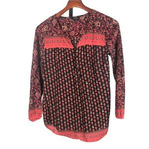 LUCKY BRAND Paisley Long Sleeve Peasant Top